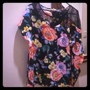 Floral lace half dolman sleeve blouse